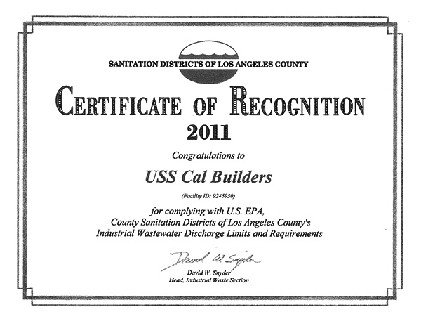 Certificates of Recognition | USS Cal Builders