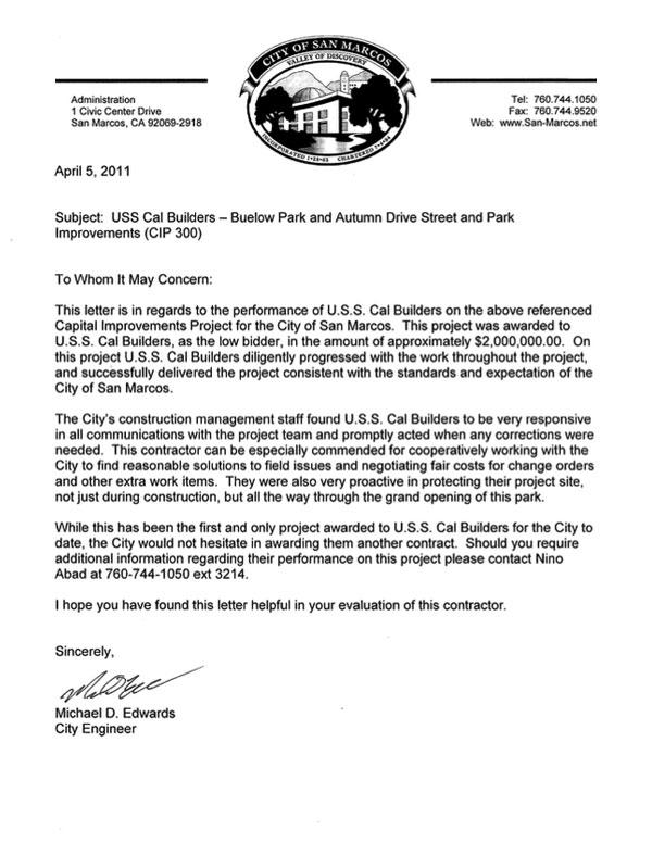 Letter Buelow Park 1